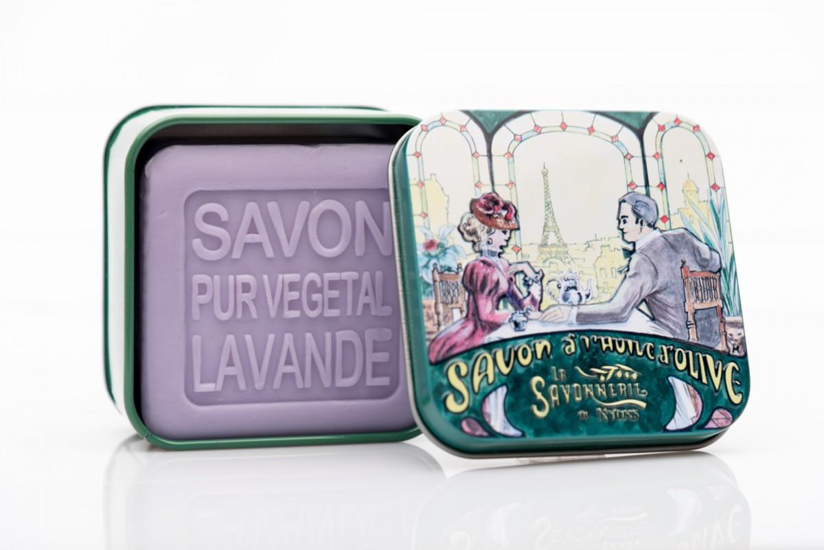 Мыло с лавандой в металлической коробке Ужин 100 гр_1. vivacite.ru