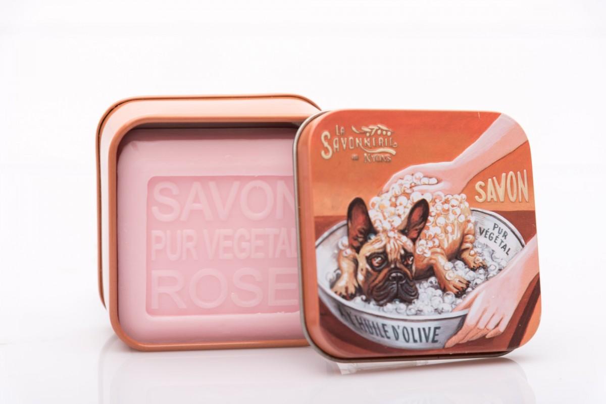 Мыло с розой в металлической коробке Бульдог 100 гр. vivacite.ru