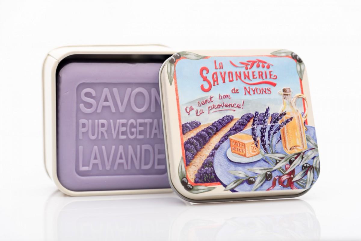 Мыло с лавандой в металлической коробке Прованс 100 гр_1. vivaicte.ru