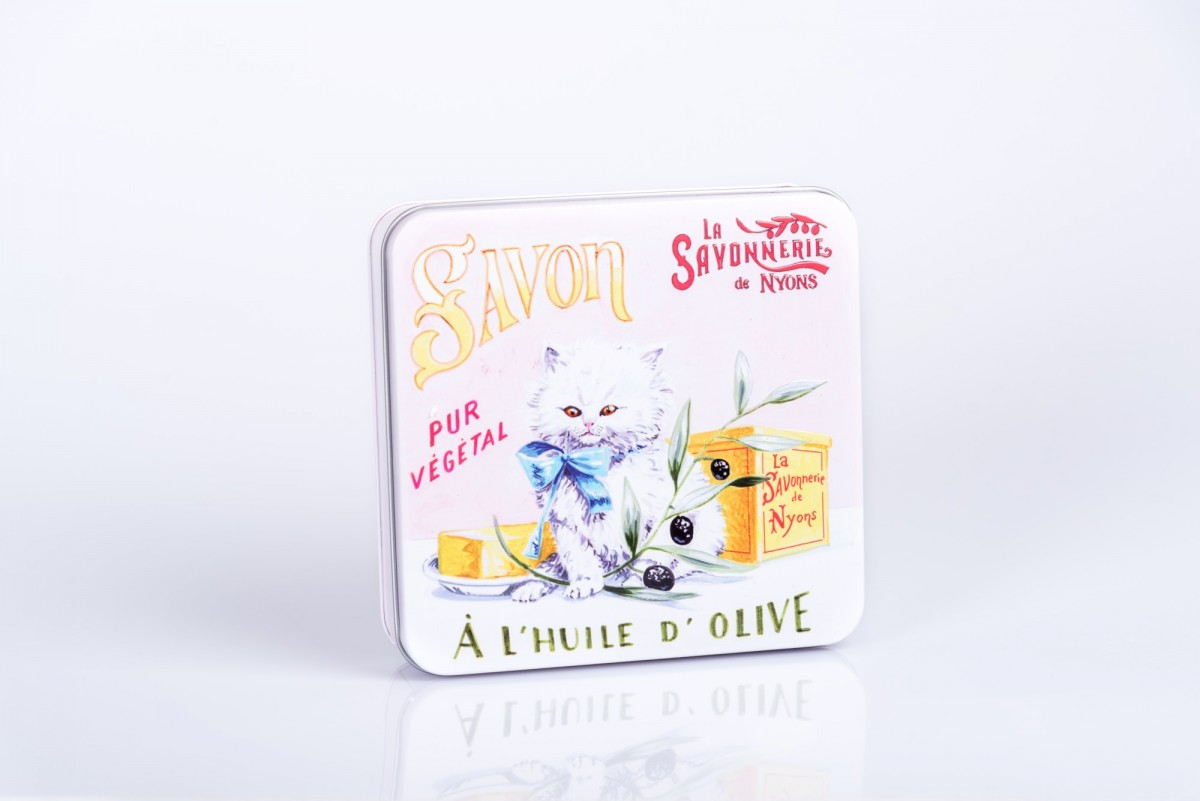 Набор мыла, 4 штуки в металлической коробке Персидский кот. vivacite.ru