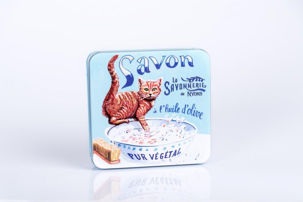 Набор мыла, 4 штуки в металлической коробке Рыжий кот_1. vivacite.ru