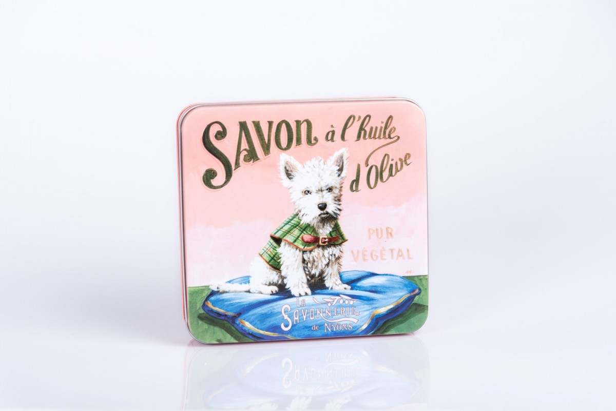 Набор мыла, 4 штуки в металлической коробке Вест терьер_1. vivacite.ru