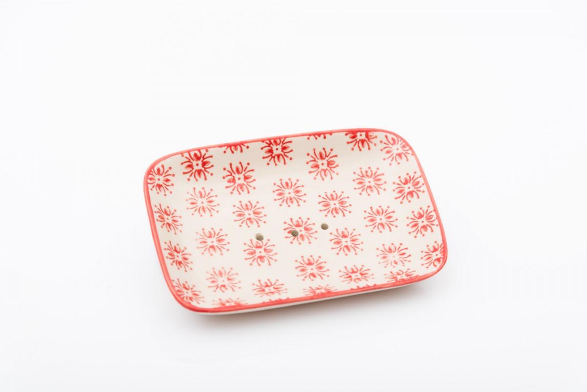 Керамическая мыльница с красным декором, прямоугольная