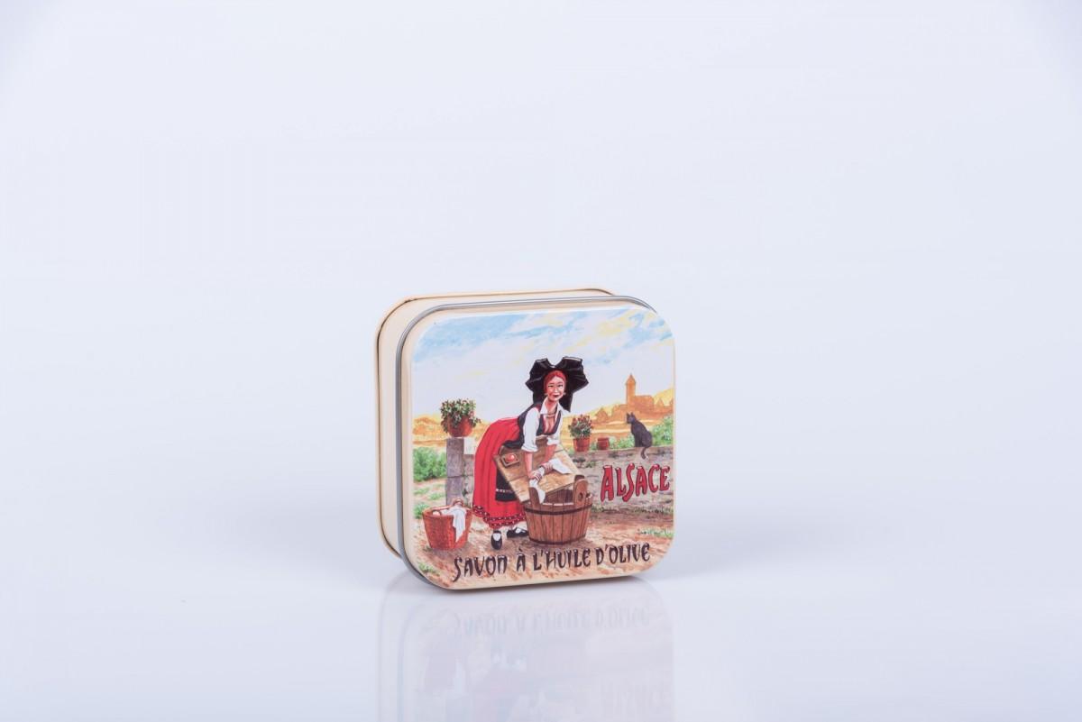 """Мыло с цветком хлопка в металлической коробке """"Деревня в Эльзасе"""" 100 гр. vivacite.ru"""