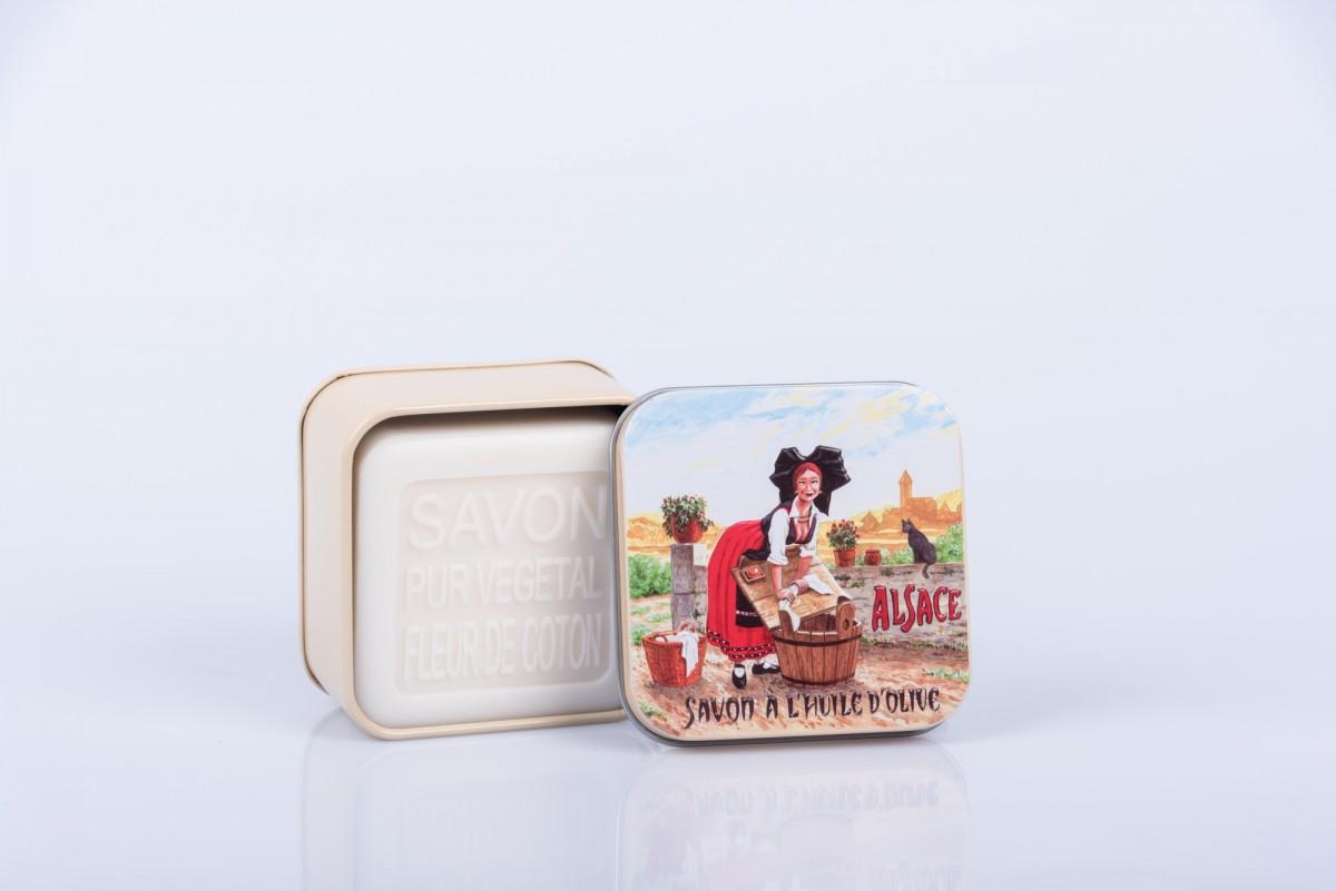 """Мыло с цветком хлопка в металлической коробке """"Деревня в Эльзасе"""" 100 гр_2. vivacite.ru"""